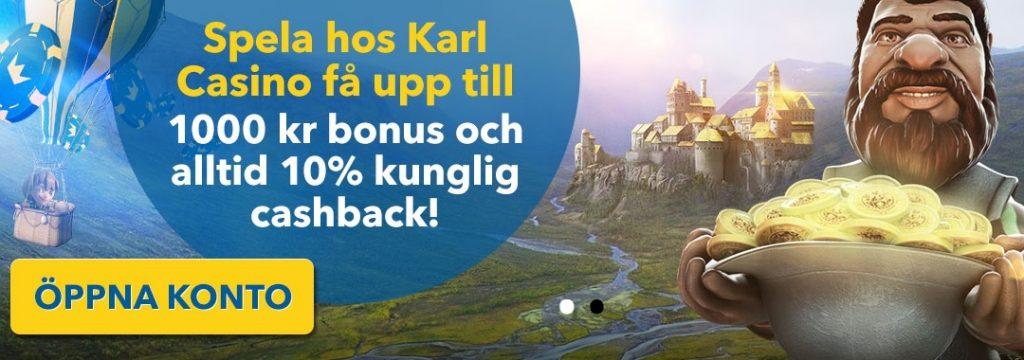 karl casino-1.000 kr bonus + 10% cashback