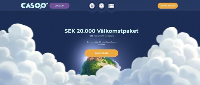 Casoo - 20.000 kr + 200 free spins Välkomstpaket