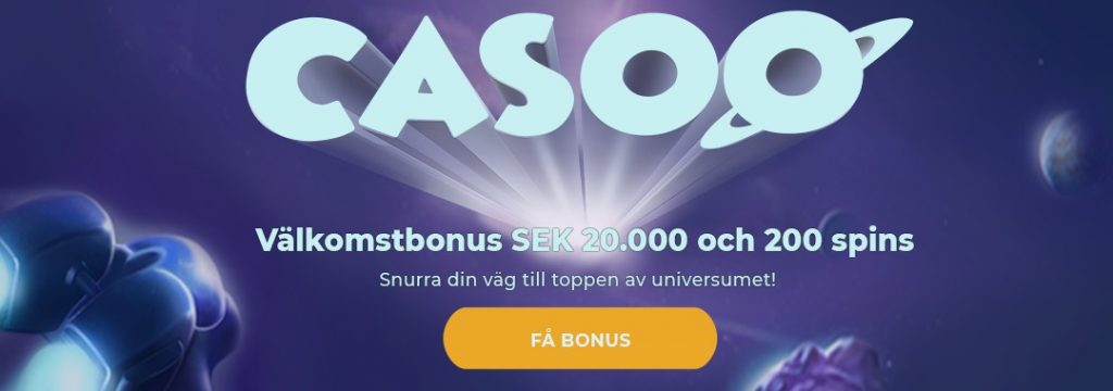 Casoo - 20.000 kr Välkomstbonus + 200 free spins
