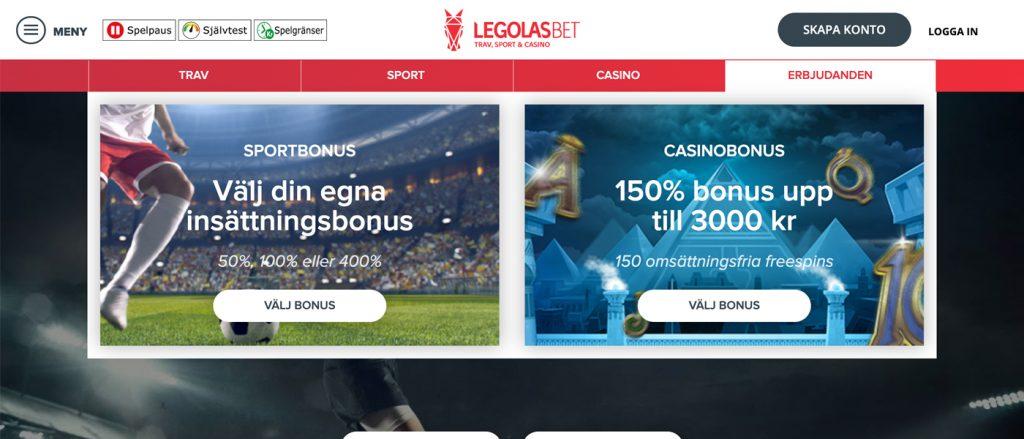 Legolasbet - 150% bonus upp till 3.000 kr + 150 freespins