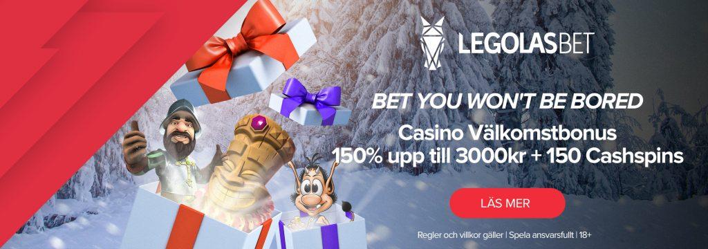 Legolasbet - Välkomstbonus 150% upp till 3.00 kr + 150 cashspins